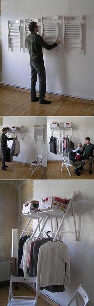 chair wall storage! Genius!
