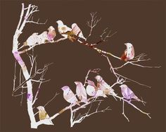 zebra finches in brown by yumiyumi on etsy