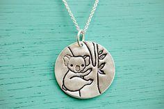 Koala Necklace Koala Jewelry - Ecofriendly Silver Koala Artwork Pendant Koala Charm boygirlparty Chocolate and Steel