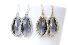 Charcoal Grey Earrings Grey Bridal Earrings Grey by 53Countesses