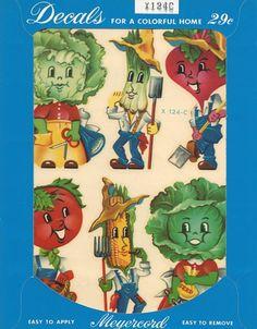 Vintage Anthropomorphic Veggie Head Kitchen Decals