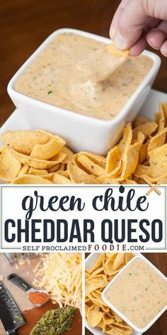 This spicy and creamy Green Chile Cheddar Queso made with real sharp cheddar cooks up in just minutes and is the perfect cheese sauce for nachos or tacos. Appetizer Dips, Yummy Appetizers, Appetizers For Party, Appetizer Recipes, Mexican Appetizers, Dinner Recipes, Chorizo, Chile Picante, Queso Cheddar
