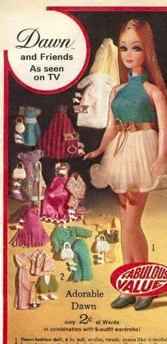 YEAR Wards Montgomery Wards Christmas Catalog Page Section - Dawn Doll and Wardrobe (Fashions) - Special Offer - As seen on Tv My Childhood Memories, Childhood Toys, Retro Toys, 1970s Toys, Dawn Dolls, Vintage Barbie Dolls, Barbie World, Old Toys, Vintage Children