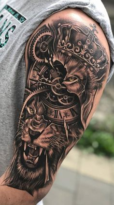 70 Female and Male Lion Tattoos Half Sleeve Tattoos For Guys, Best Sleeve Tattoos, Tattoo Sleeve Designs, Tattoo Designs Men, Lion Tattoo Design, Lion Head Tattoos, Mens Lion Tattoo, Lion Arm Tattoo, Tattoo Tribal