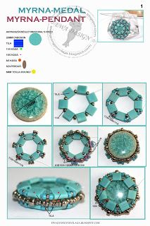 Schemas:  Ewa beaded World: Myrna pattern pendant - Site shows a number of ways to add an edge to this bezel treatment ~ Seed Bead Tutorials