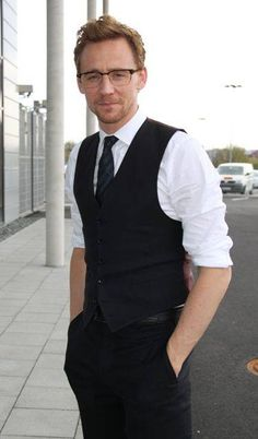 A very studious look for Tom Hiddleston.