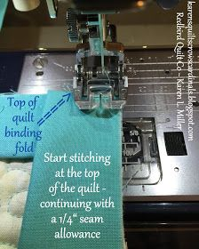 Karen's Quilts, Crows and Cardinals: Tutorial - Mitered and Flanged Machine Binding Quilting For Beginners, Quilting Tips, Quilting Tutorials, Machine Quilting, Sewing Tutorials, Beginner Quilting, Sewing Projects, Free Tutorials, Quilting Projects