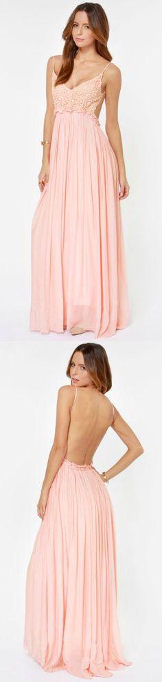 Open Back Crocheted Pink Maxi Dress