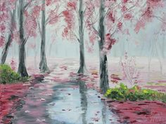 9*12 original oil painting of pink fall forest on a rainy day with water reflections, pink trees by the road. Palette knife work aka impasto. Stretched canvas art. I wanted to practice creating that foggy mood with some added water reflections. I intentionally initiated the surreal character of the painting with its sharp contrasts, vivid pink and black colors, etc. Please visit my blog to learn more about how i created the painting:...