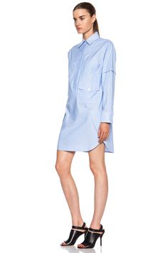 Image 2 of Alexander Wang Cotton Shirt Dress in Pool