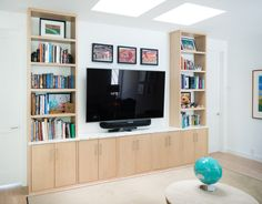 Modern and Sleek Childrens Living room featuring White Oak cabinets, calacata marble top, white oak floors