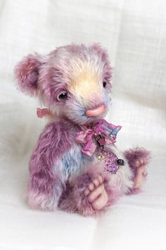 Artist bear Sanibel rainbow bear handmade by LunaticShop on Etsy