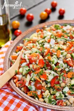 Mediterranean Chopped Salad - I   substituted spinach for the arugula and lemon infused olive oil for the lemon   juice. Delicious and colorful