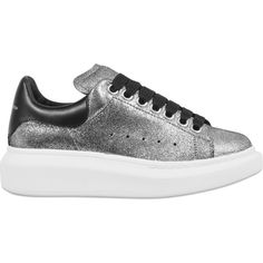 Alexander McQueen Exaggerated sole sneakers ($575) ❤ liked on Polyvore featuring shoes, sneakers, metallic, alexander mcqueen shoes, metallic sneakers, alexander mcqueen sneakers, alexander mcqueen trainers and metallic shoes