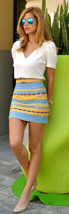 Neon Southwestern Bodycon Mini Skirt Yellow & Baby Blue