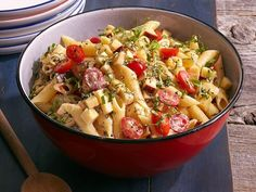 Get Spicy Pasta Salad With Smoked Gouda, Tomatoes and Basil Recipe from Food Network
