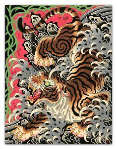Big Bad Waves - Flo Kraemer – Beyond Tradition Japanese Tiger Tattoo, Tattoo Japanese Style, Japanese Tattoo Designs, Japanese Sleeve Tattoos, Japanese Tiger Art, Japanese Drawings, Yakuza Style Tattoo, Irezumi Tattoos, Tebori Tattoo
