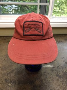 297706a478f Details about Polo Sport Hat Ralph Lauren Vtg USA Made Fitted Long Bill Red  Cap S