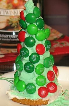 Waffle cone christmas tree.  Decorate with sprinkles, chocolate chips, string licorice for garland.  Great for kids holiday party!