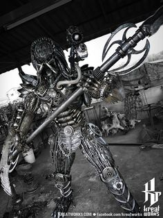 Recycled Metal Fierce Warrior Hunter with spear by Kreatworks
