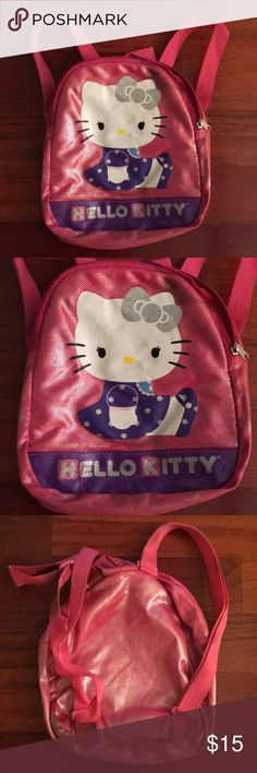 Hello Kitty Backpack Hello Kitty backpack for little girl. Has some wear. Straps has some mild staining from usage. Offers welcome. Staining inside minimal. Overall good and adjustable straps. Hello Kitty Accessories Bags