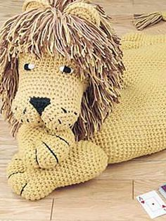 Lion Jungle Cat Crochet Pattern Download from e-PatternsCentral.com -- This sweet lion makes a fun pillow for sleepovers or playtime.