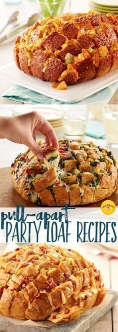 Eight easy and cheesy pull-apart party loaf recipe ideas for your next game day or awards show party.