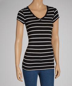 Look at this #zulilyfind! Black & White Stripe V-Neck Top #zulilyfinds