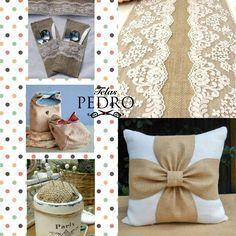 Ideas para utilizar arpillera: camino de mesa,guarda cubiertos,baggy lunch bags (bolsa de merienda) alfiletero,adornar un cojin