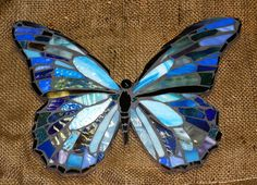 Items similar to Blue Morpho Stained Glass Butterfly Mosaic on Etsy Stained Glass Designs, Stained Glass Projects, Stained Glass Patterns, Mosaic Patterns, Stained Glass Art, Stained Glass Windows, Butterfly Mosaic, Mosaic Birds, Glass Butterfly
