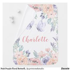 Pink Purple Floral Butterfly Personalized Girl Baby Blanket Butterfly Nursery, Butterfly Baby, Purple Butterfly, Pink Purple, Blush Pink, Soft Baby Blankets, Receiving Blankets, Baby Nursery Decor, Girl Nursery