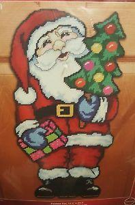 "Janlynn Jumbo Santa Christmas Plastic Canvas Kit 12 1/2"" X 24 1/2"" Linda Gillum | eBay"