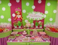Strawberry shortcake party by elisa Mermaid Theme Birthday, Baby Girl First Birthday, 2nd Birthday, Birthday Ideas, Summer Birthday, Strawberry Shortcake Birthday, 4th Birthday Parties, First Birthdays, Party Time