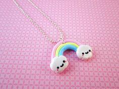 Kawaii Rainbow Polymer Clay Necklace Pendant by DoodieBear on Etsy, $10,00