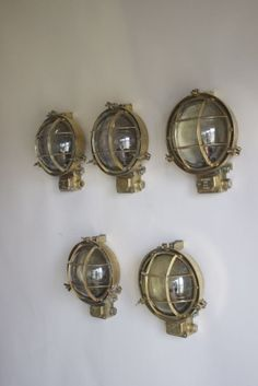 Set of 5 outside marine lights brass circa 1930