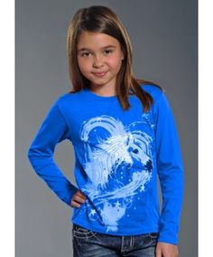 Rock & Roll Lil' Cowgirl Blue Long Sleeve T-Shirt with Horse, Heart & Stars