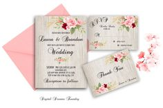 Romantic Wedding Invitation Floral Wedding by DigitalDreamsFoundry