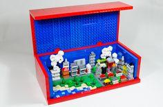 A mini Lego city in a  8 x Lego red brick