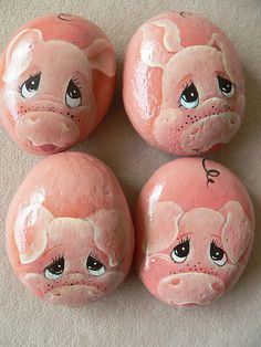 Piggies, painted stones
