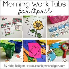 Morning Work Tubs for Kindergarten {April} - Check out these 20 thematic activities for your kinder students. You get student instruction cards and the downloads needed to make these fun spring themed centers run all month long. Just add a few manipulatives and every day items, and your kinders will have fun learning and stay engaged all month long!