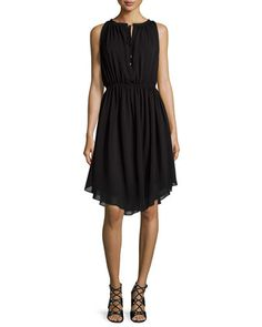 Sleeveless+Shirred+Chiffon+Dress,+Black+at+CUSP.