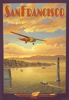 Western Air Express, San Francisco, Californie Autocollant mural by Kerne Erickson Travel Ads, Airline Travel, Sf Travel, Travel Album, Travel Photos, Travel Guide, San Francisco Travel, San Francisco California, California Art