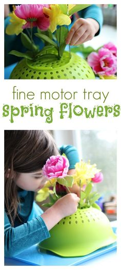 What a fun way to use a colander. Fine motor activity for spring at preschool.