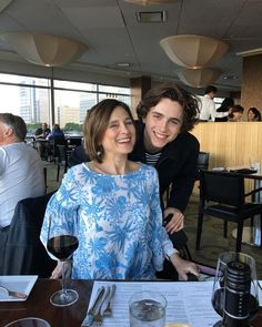 Timothée with his mom Nicole