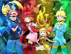 Ash Ketchum and Pikachu with their Kalos friends ^.^ ♡ I give good credit to whoever made this