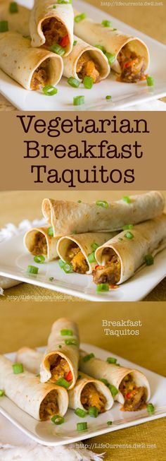 Breakfast Taquitos by Life Currents are a great vegetarian way to start you day! Pin now to make later!