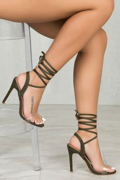 Ariana Lace Up Heel (Olive)