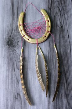 Gold Horseshoe Dreamcatcher - in Diameter by WildwoodCeramics on Etsy Gold Glass, Dream Catcher, Glass Beads, Handmade Items, Feather, My Etsy Shop, Group, Amazing, Board