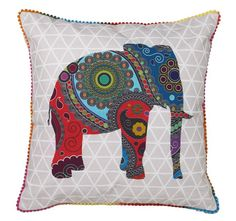 Logan and Mason Ultima Jumanji Filled Cushion Multi Linen Bedding, Duvet, Fashion Hub, Elephant Print, Soft Furnishings, Cotton Linen, Modern Furniture, Branding Design, Pillow Cases