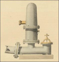 """Drawing of the ram pump that Tristan drew and built in Lost in Temptation--a view of the outside. This picture was scanned from a hand-colored engraving in an 1821 copy of the popular magazine Ackermann's Repository. The accompanying text included instructions on how to build a ram pump, calling it, """"A simple Hydraulic Engine, which will raise Water to a very considerable elevation, without manual force or assistance."""" The ram pump was invented by a Frenchman, Joseph-Michel Montgolfier, in…"""